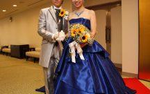 お色直しのドレスは、一目ぼれのブルーのドレスで再入場